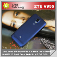 ZTE V955 android Phone 4.5'' MSM8225 Dual Core 512MB RAM 4GB ROM Android 4.0 Dual SIM WCDMA GPS Russian Multi Language