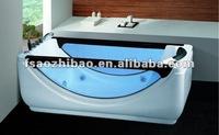 2015 Hot Sale New Style Ractangle blue glass skirt Indoor Acrylic Massage Bathtub Foshan Factory ZY-032