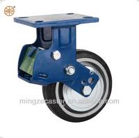Heavy duty black rubber caster wheel