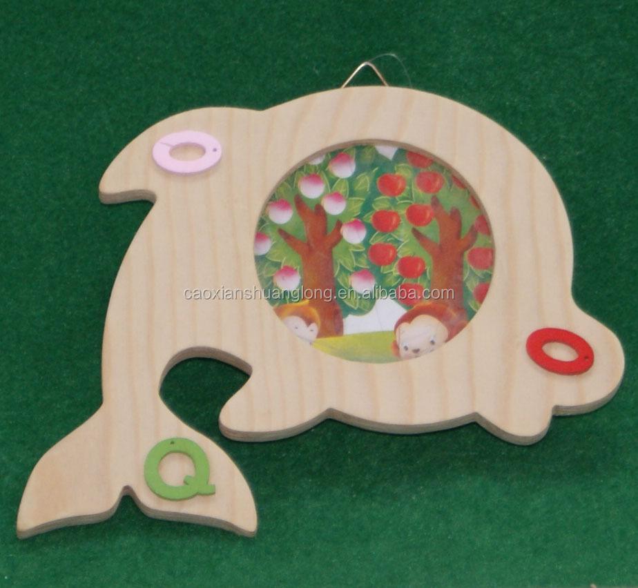 Nuevo diseño Hermoso pescado en forma marco de fotos de madera con ...