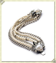 2015 fashion long chain bracelet pearl bead bracelet artificial fancy chain bracelet for girls (SJB-055)