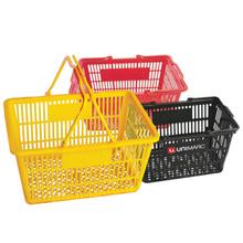 Supermarket handle plastic shopping basket high quality