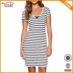 Elie Saab Evening Black And White Striped Dress,Simple Dress For Girls