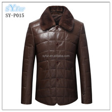 fashion men's business sheepskin leather jacket and men's down feather jacket coat genuine leather coat with mink fur collar