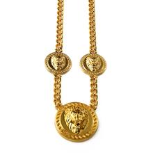18K gold vacumm plated hip hop fashion necklace three lion head pendant shape necklace new gold chain design for men