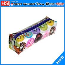 wholesale donut printed square cute plastic pencil case for teenagers
