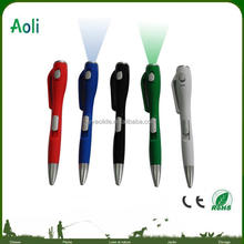 plastic ball point pen with led light cheap price promotion pen