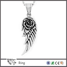 Fashion western style biker jewelry stainless steel casting women's stainless steel angel wing pendant with flower design
