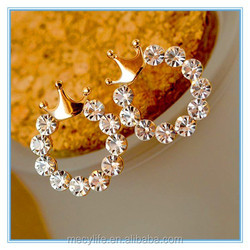 MECY LIFE fashion round rhinestone blank surface crown prom earrings