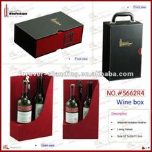 quality customized 2 bottles capacity red wine case