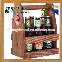 2016 year china factory FSC OEM pine 6 pack wooden beer wine whiskey bottle storage box tote carrier with can bottle opener