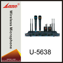 Lane U-5638 Professional UHF Wireless Microphone System with four Microphone