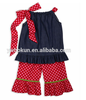 girls fashion clothing boutique wholesale cotton demin vest tops and red and pink ruffle pants suits factory direct girl sets
