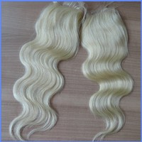 New Products 613 Top Closure Virgin Peruvian Hair Body Wave 4x4 Blonde Lace Closure
