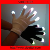 2014 New 7 Mode LED Rave Flashing Gloves Shinning Gloves Glow Light Up Finger Lighting Black