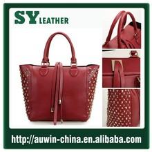 de oro de china proveedor de cuero genuino bolso de cuero mujer 2 colores studed bolsa de la mujer