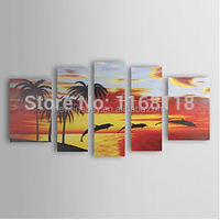 100% Hand-painted abstract African fish Seascape sunset Painting Africa landscape wall art on canvas - 5 piece art set