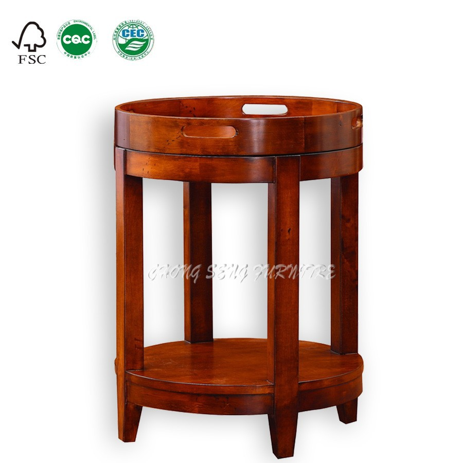 - Simple Classic Living Room End Table Solid Wood Carved Round Table