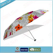 19 Inch Cheap Customized Printing Light Aluminum Five Fold Umbrella