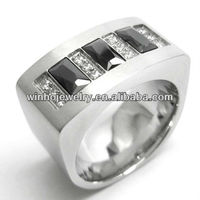 mens silver stainless steel jewelry fashion diamond ring