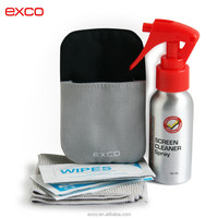 Exco stock new design Aluminum Bottle environmental protector natural opula lcd screen cleaning kit with pad cloth wipe paper