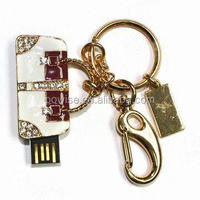 Handbag style luxury jewelry usb flash memory stick, 1gb 2gb 4gb 8gb usb pen drive with key ring