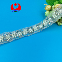 embroidery plastic pearl beads floral lace trimming silver thread white pearl beads on sequin