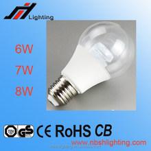 CE ROHS Factory sale A60 transparent 6W 7W 8W E27 LED BULB LIGHT