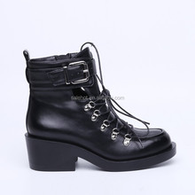 2015 fashionable woman high heel platform ankle cool martin boots with top patent pu, lace-up and buckle, different material.