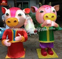 Traditional cartoon bull character exhibit of lantern