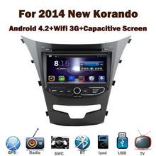 Pure android 4.2.2 GPS del DVD del coche para SsangYong Actyon nuevo / Korando 2014 con pantalla capacitiva 1.6 G CPU de doble núcleo 1 G RAM estéreo