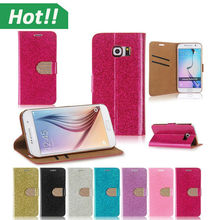 Hot selling flip wallet mobile phone case diamond crystal cover for galaxy s6 edge luxury leather case