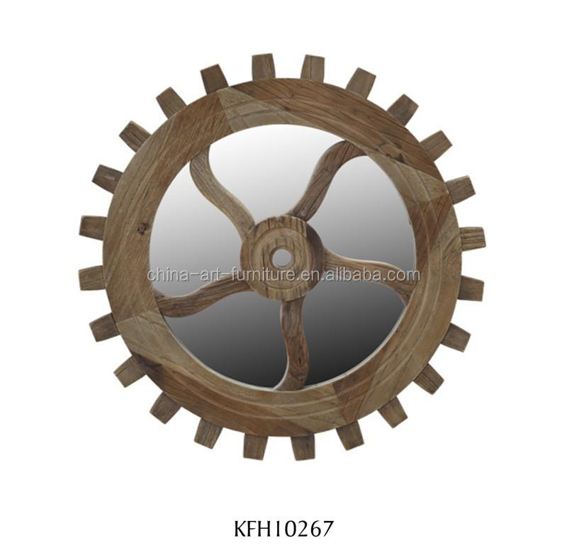 재활용 느릅 나무 프레임 거울 휠 패턴 산업 스타일의 가구 장식 ...