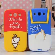3D Cartoon Minnie Donald WinnieBear Dale on the back Silicone Cover Case For samsung galaxy s3 i9300