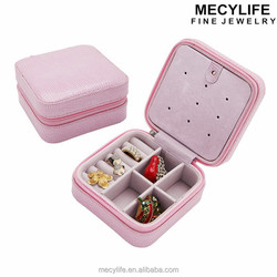 MECY LIFE hot sale candy color convenient small leather travel jewelry box