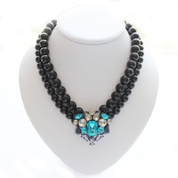 Fancy handmade glass pearl jewelry black and white beaded necklace