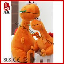2014 Stunning Soft Plush Toy Wild Animal Plush Eating Grass Orange Dinosaur