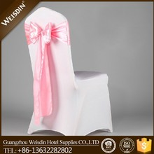 Plain dyed spandex wedding chair covers and satin sashes for sale, hall banquet chair cover