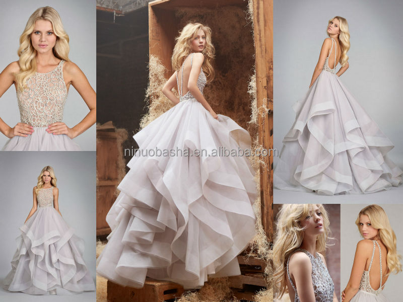 Exquisite Ball Gown Wedding Dress Scoop Neck Backless Heavily ...