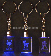 small gifts logo engrave glass crystal key ring, glass key ring for promotional