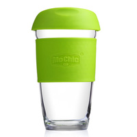 Top Quality 450ml 16OZ Glass Blown Heat Resistant Insulated Coffee Cup Juice Cup With Silicone
