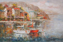 Living wall boat paintings of Mediterranean landscape
