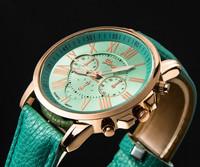 2015 Brand New Geneva Watch Women Popular Quartz Watch Leather Strip Roman number Relogio Feminino Gift Relojes