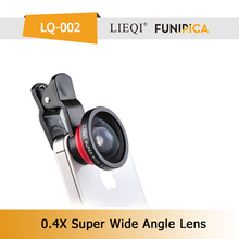 Fashionable LIEQI Universal Clip 0.4X Super wide lens LQ-002 magic camera lens cover for mobile phone
