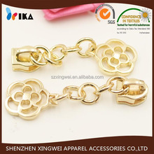 gold metal zipper slider with decorating flower puller for clothes