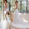 Romantic vestido de noiva New Fashion A-Line Chiffon Beaded Lace Beach Wedding Dresses 2015 sexy v-neck Sleeveless bride gowns