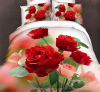 factory outlet 100% cotton top quality best price luxury 3d effect red rose bedding set wedding bedding printed bed sheet fabric