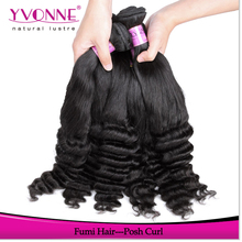 Wholesale price 100% human hair posh curly hair extensions.cheap fumi hair