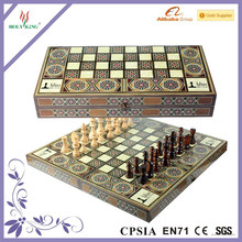 Wooden Backgammon And Chess Combination Game Set 2 In 1 Wooden Antique Game Set