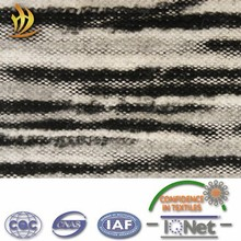 Grey black strip coarse jacquard knir wool polyester blend fabric for coat